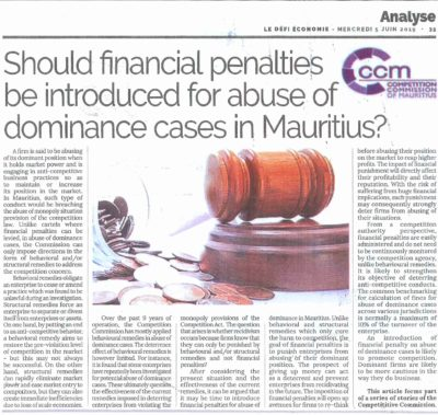 SHOULD FINANCIAL PENALTIES BE INTRODUCED FOR ABUSE OF DOMINANCE CASES IN MAURITIUS?​