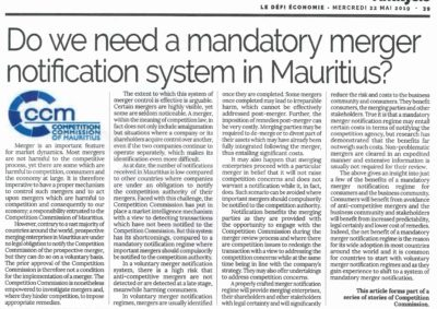 DO WE NEED A MANDATORY MERGER NOTIFICATION SYSTEM IN MAURITIUS?​​
