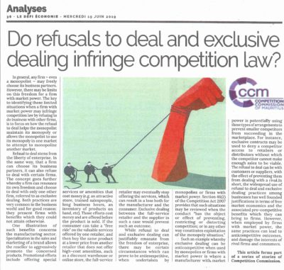 DO REFUSALS TO DEAL AND EXCLUSIVE DEALING INFRINGE COMPETITION LAW?​​