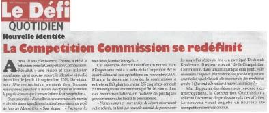 Le Defi, 20 September 2019: La competition commission se redéfinit