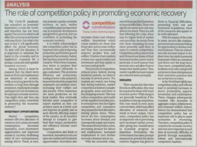 The role of competition policy in promoting economic recovery