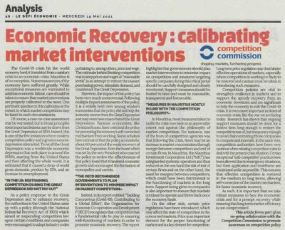 Economic Recovery – calibrating market interventions